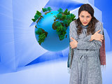 Composite image of peaceful pretty model with winter clothes bei