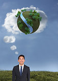 Composite image of cheerful businessman looking up