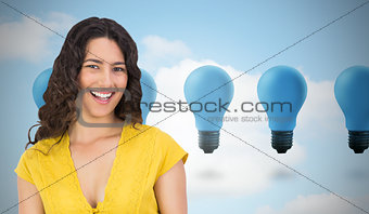 Composite image of smiling casual young woman scrolling on her t
