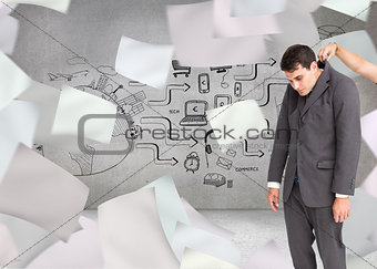 Composite image of businessman hanging