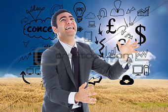 Composite image of stressed businessman catching