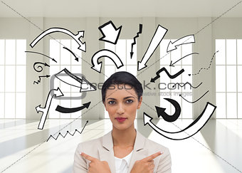 Composite image of charismatic businesswoman with her arms cross