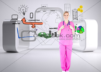 Composite image of confident young female surgeon holding a stet
