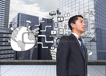 Composite image of black white graphic over cityscape background