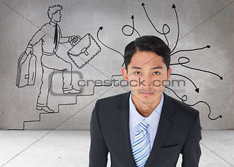 Composite image of serious asian businessman