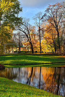 Autumn Chinese pavilion in Pushkin garden