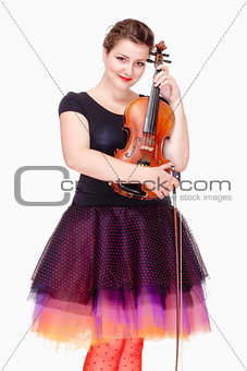 Portrait of Young Female Violin Player in Colorful Skirt