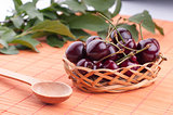 basket of cherries on a wooden stand