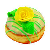 Donut with yellow rose