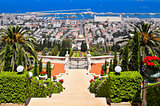 Beautiful Haifa view of Mediterranean Sea and Bahai Gardens