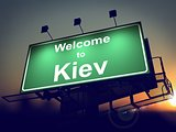 Billboard Welcome to Kiev at Sunrise.