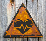 Heart with Cardiogram Line on Warning Sign.