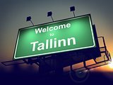 Billboard Welcome to Tallinn at Sunrise.