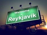 Billboard Welcome to Reykjavik at Sunrise.