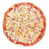 Pizza with ham, tomato and cheese
