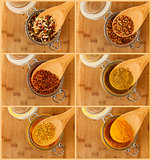 collage of mixture spice in a wooden spoon