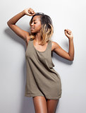 Young black woman in a tanktop