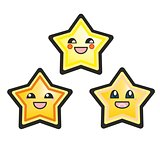 Japanese vector manga stars hand drawn illustration isolated on white background.