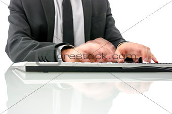 Blurred hands typing