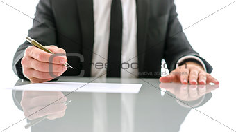 Businessman about to sign important document