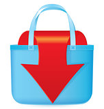 Bag with red arrow coming out