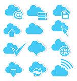 Cloud icon set internet
