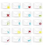 White closed twenty envelopes icon set