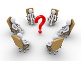 Businessmen sitting on chairs and a question mark