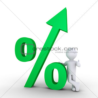 Growing percentage and a person