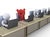Happy businessman with laptop amongst others