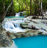Blue Waterfall in the Jungle