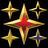 Vector set of golden shiny four-point stars