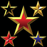 Vector set of golden shiny five-pointed stars
