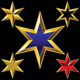 Vector set of golden shiny six-pointed stars