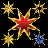 Vector set of golden shiny eight-pointed stars
