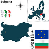 Map of Bulgaria with European Union
