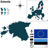 Map of Estonia with European Union