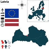 Map of Latvia with European Union