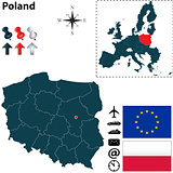Map of Poland with European Union