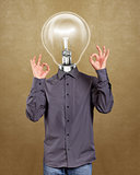 Hipster Lamp Head Man Shows OK