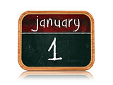 January 1 on blackboard banner