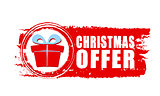 christmas offer and gift box on red drawn banner