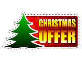 christmas offer and christmas tree on red banner with snowflakes