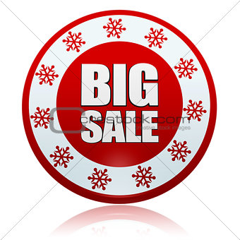 christmas big sale on red circle banner with snowflakes symbols