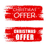 christmas offer on red drawn banners