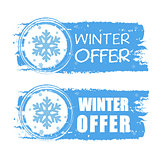 winter offer with snowflake on blue drawn banners