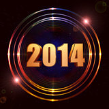 new year 2014 in shining golden rings