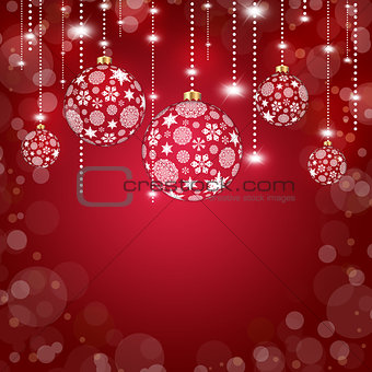 Christmas balls of snowflakes on a red background