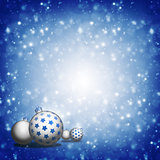 Christmas balls on blue background