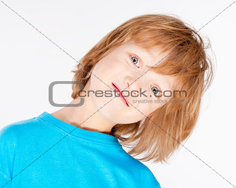 Boy with Blond Hair in Blue Top - Isolated on White